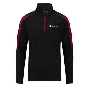 black half-zip pullover sweatshirt with red stripes on the sleeves and a white sterling urgent care logo