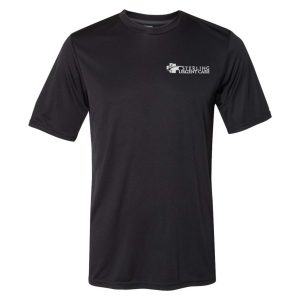 Black short-sleeved shirt with white Sterling Urgent Care logo