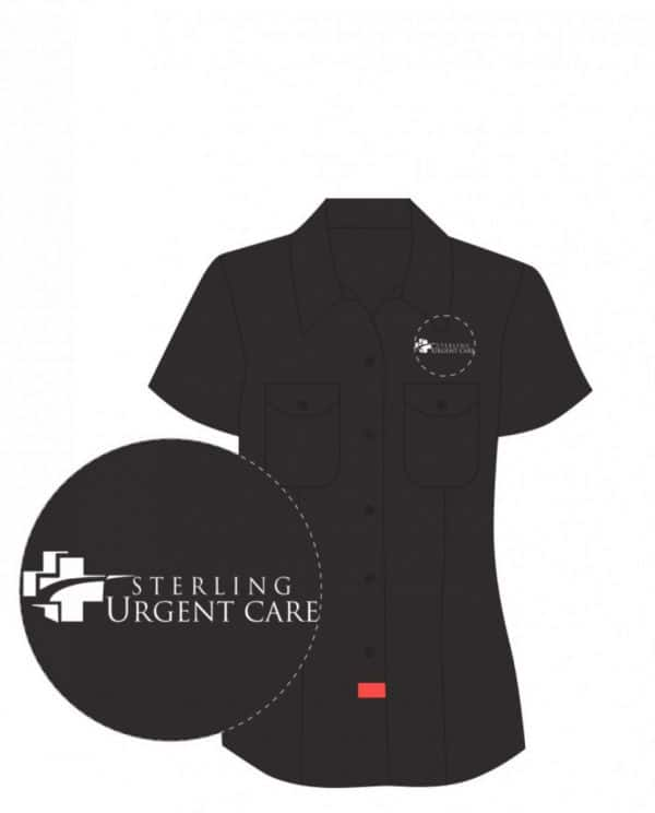 Black women's dickies work shirt with close-up views of white Sterling Urgent Care logo in black circles