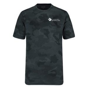 Grey camouflage short-sleeved shirt with white urgent care logo