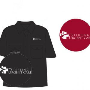 Black women's dickies work shirt with close-up views of white Sterling Urgent Care logos in black and red circles