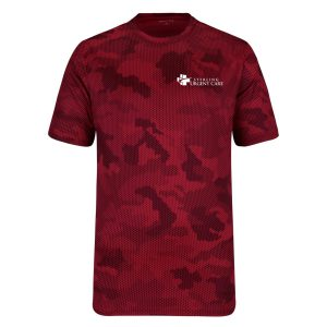 Red camouflage short-sleeved shirt with white urgent care logo