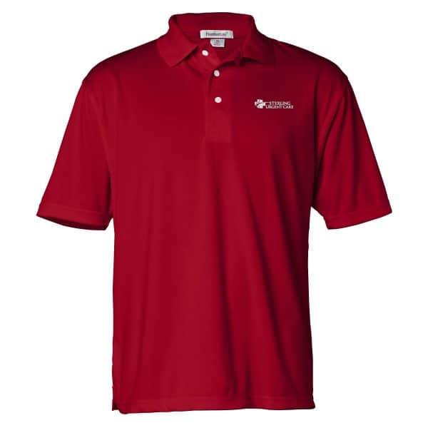 Short-sleeved red mesh polo with white sterling urgent care logo