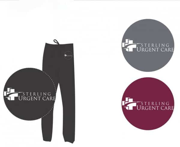 Black scrub pants with close-up views of white Sterling Urgent Care logos in black, grey and maroon circles
