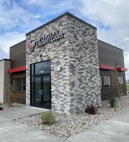 Daytime exterior view of the Sterling Urgent Care in South Idaho Falls, Idaho.
